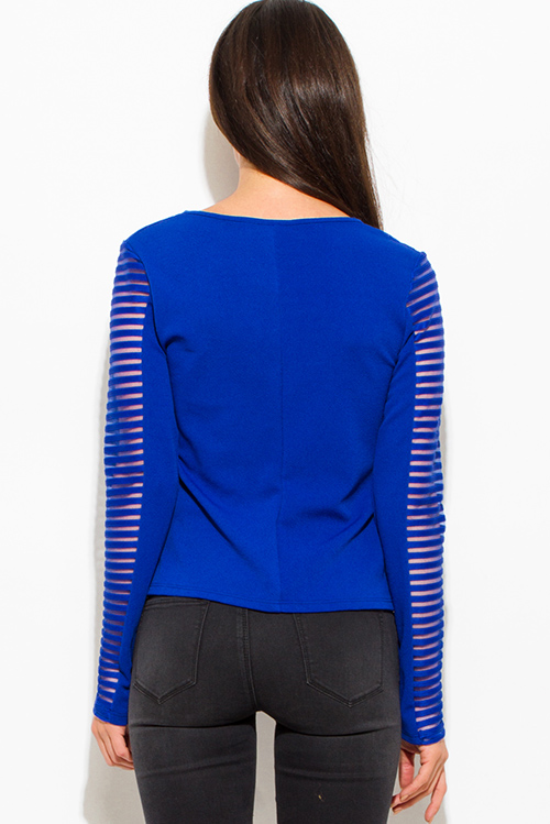 Cute cheap royal blue stripe mesh contrast asymmetrical zip up moto blazer jacket top