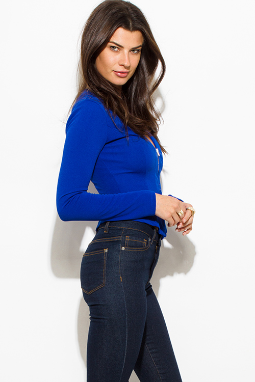 Cute cheap royal blue textured long sleeve asymmetrical hem zip up fitted jacket top
