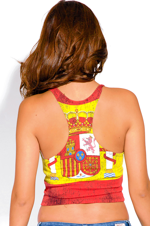 Cute cheap spanish flag royal crest graphic print crop tank top