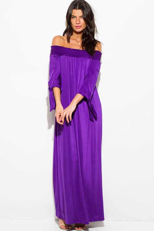 Cute cheap royal purple red sash smocked off shoulder long sleeve boho evening maxi dress
