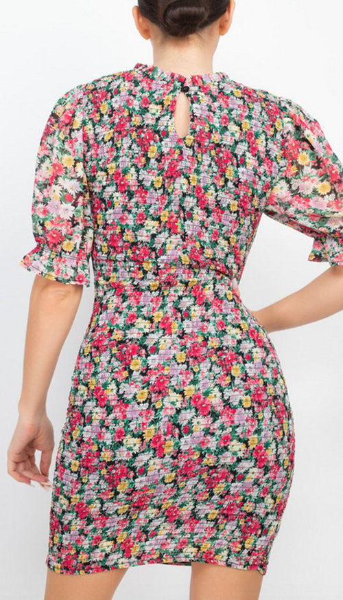 Cute cheap ruched floral mock neck dress