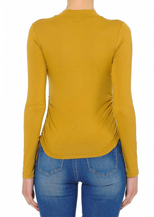 Cute cheap ruched side mock neck top