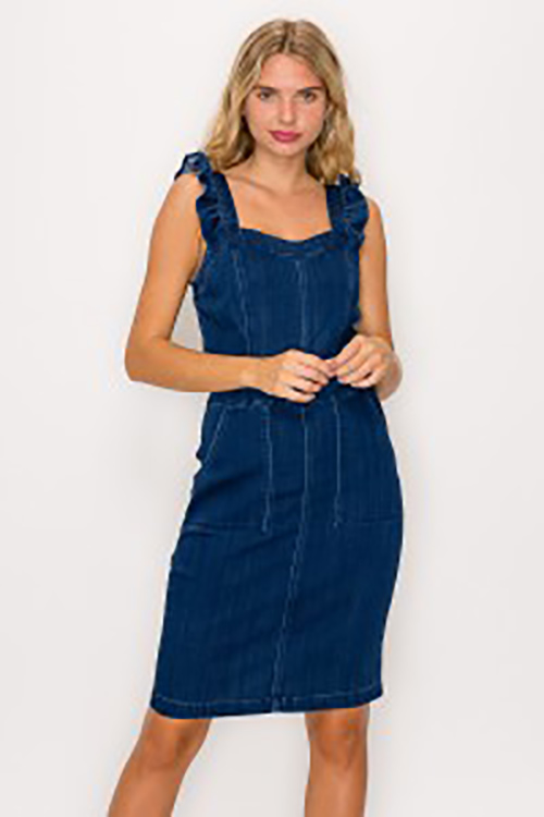 Cute cheap ruffled mini denim dress