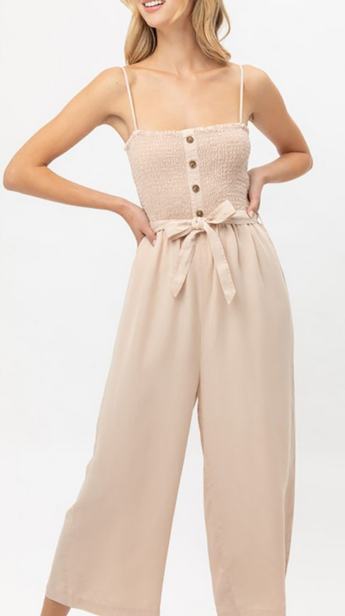 Cute cheap ruffled waist tie jumpsuit
