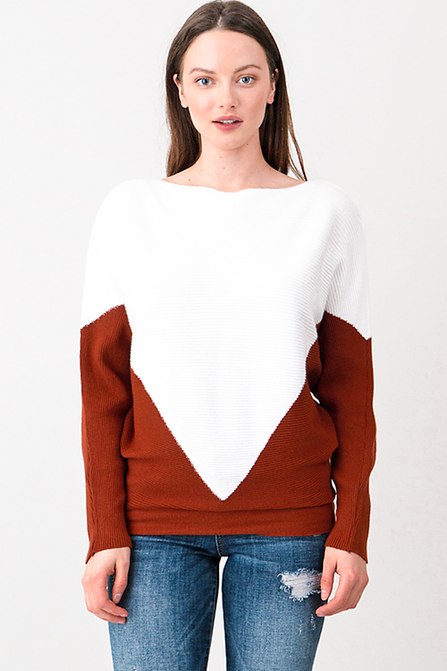 Cute cheap Rust brown and white ribbed boat neck color block long dolman  sleeve sweater top 3e18b29be