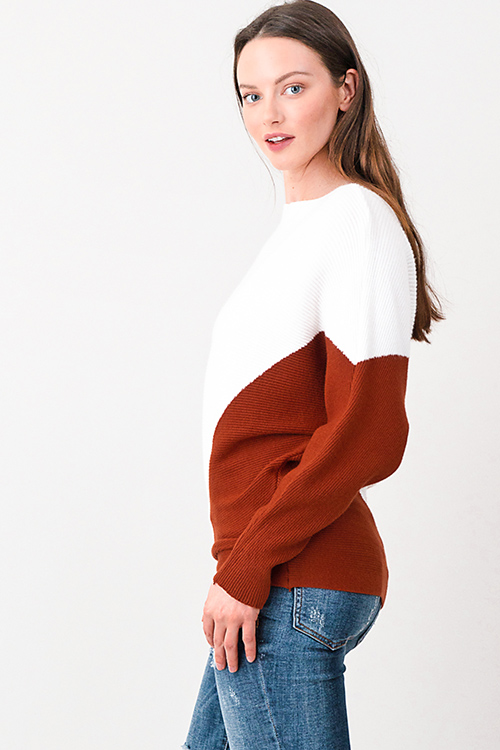 Cute cheap Rust brown and white ribbed boat neck color block long dolman sleeve sweater top