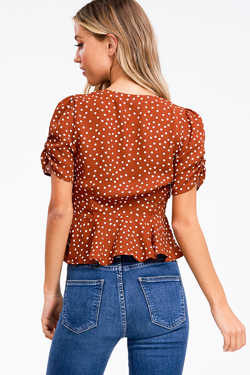 Cute cheap Rust brown polka dot print ruched short bubble sleeve button up boho blouse top