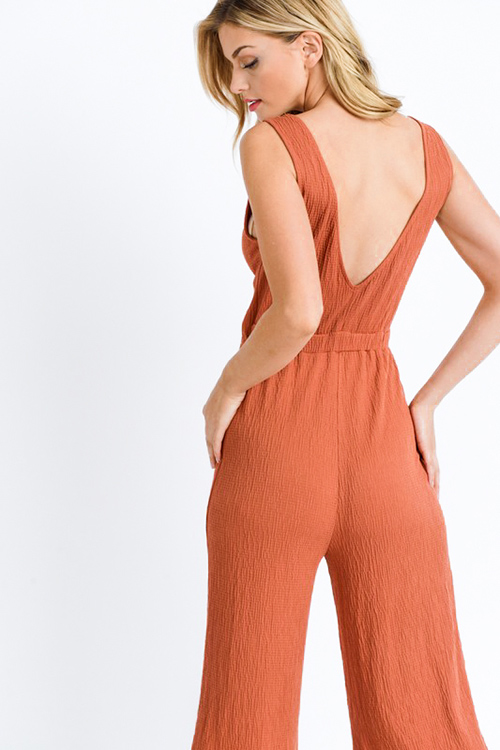 Cute cheap Rust brown sleeveless cut out tie front open back wide leg boho culotte jumpsuit