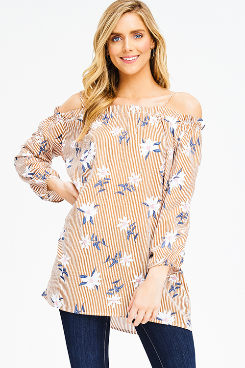 Cute cheap rust brown striped floral print off shoulder long sleeve boho tunic mini dress