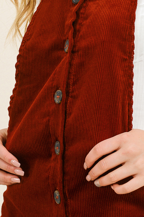 Cute cheap Rust burnt orange corduroy button up pocketed boho retro overall pinafore mini dress
