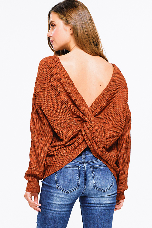 Cute cheap Rust burnt orange knit long sleeve v neck twist knotted back boho sweater top