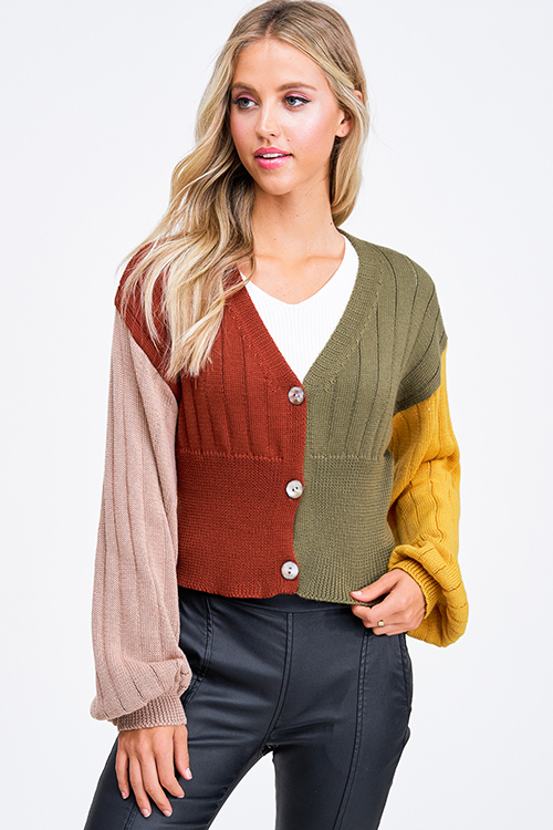 Cute cheap Rust color block ribbed long balloon sleeve button up boho cropped sweater top