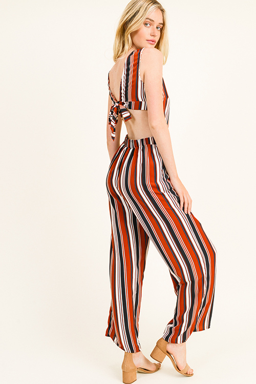 Cute cheap Rust multicolor striped sleeveless cut out tie back pocketed wide leg jumpsuit