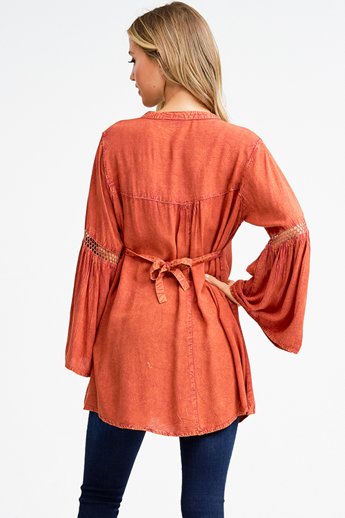 Cute cheap Rust orange acid washed long bell sleeve crochet trim button up boho tunic mini shirt dress