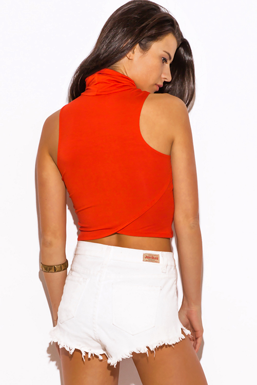Cute cheap rust orange high neck fitted party crop top