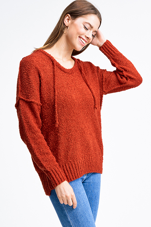 Cute cheap Rust orange long sleeve hooded oversized boho textured slub sweater top