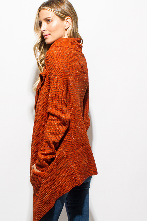 Shop rust orange metallic lurex sweater knit drape asymmetrical ...