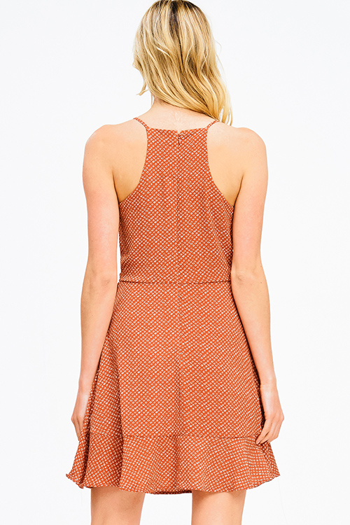 Cute cheap rust orange polka dot ruffle faux wrap racer back boho a line skater mini sun dress