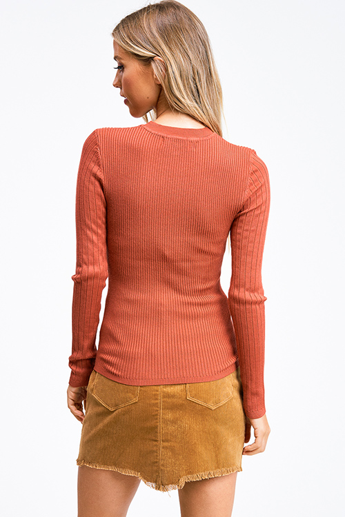 Cute cheap Rust orange ribbed knit round neck long sleeve fitted sweater top