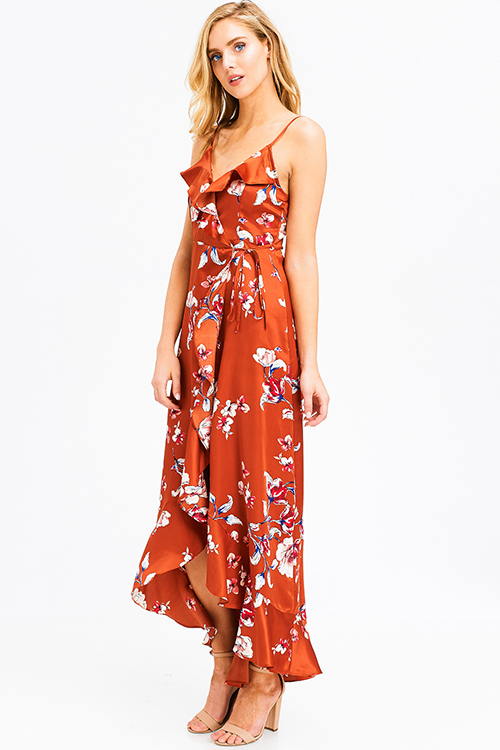 Cute cheap Rust orange satin floral print sleeveless ruffle trim boho wrap evening party maxi sun dress