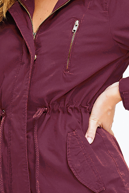 Cute cheap rust red cotton zip up drawstring waist hooded pocketed cargo anorak jacket