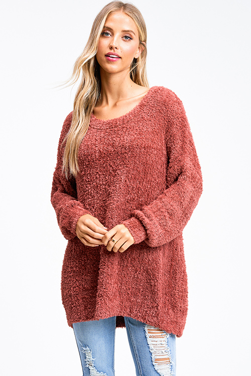 Cute cheap Rust red fuzzy knit long sleeve round neck oversized sweater tunic top