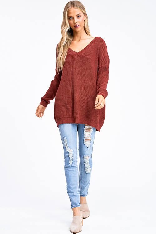 Cute cheap Rust red knit long sleeve v neck caged laceup back boho tunic sweater top