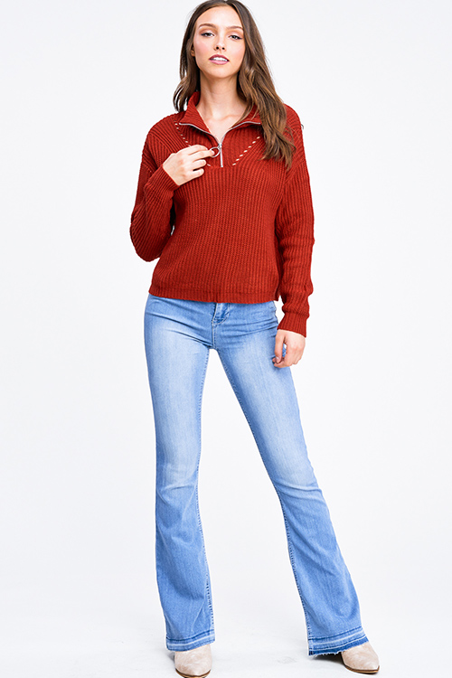 Cute cheap Rust red mock neck quarter zip up boho retro ribbed sweater top