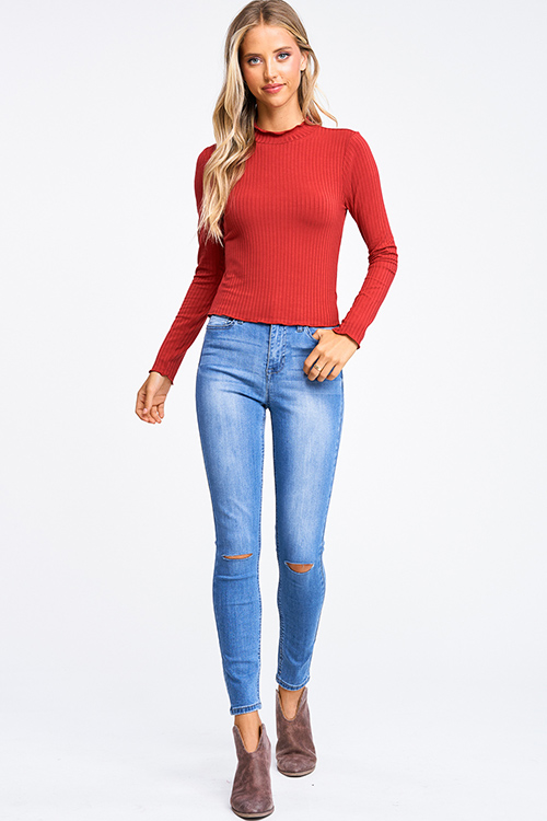 Cute cheap Rust red ribbed knit lettuce hem long sleeve fitted mock neck basic top