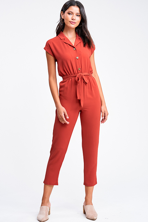 Cute cheap Rust red short sleeve button up belted boho harem tapered leg jumpsuit