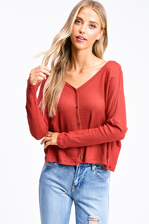 Cute cheap Rust red thermal knit long sleeve cropped boho button up top