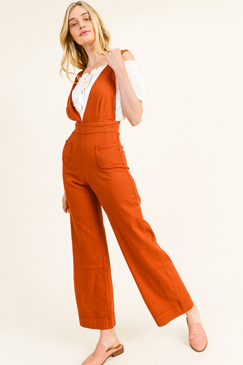 Cute cheap Rust red twill denim a-line wide leg pocketed zip up back boho overalls jumpsuit