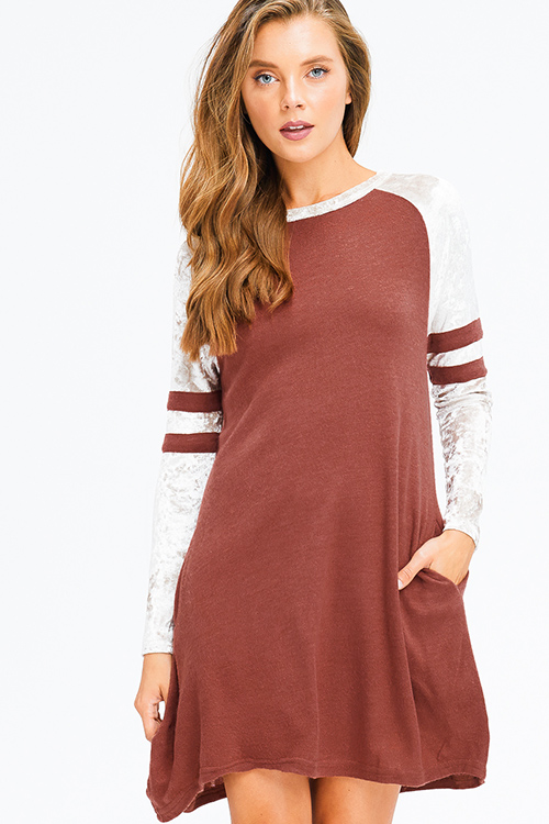 Cute cheap rust red velvet raglan long sleeve pocketed boho swing mini dress