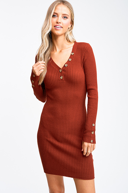 Cute cheap Rust ribbed v neck button detail boho fitted bodycon sweater midi dress