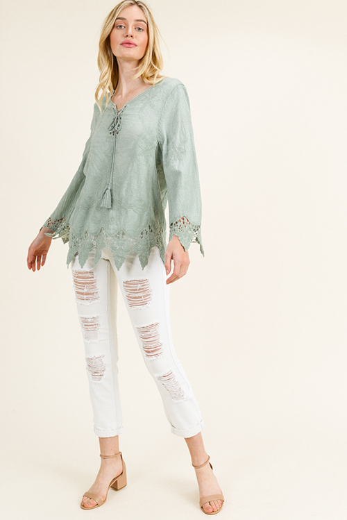 Cute cheap Sage green cotton embroidered laceup front scallop crochet lace hem boho blouse top