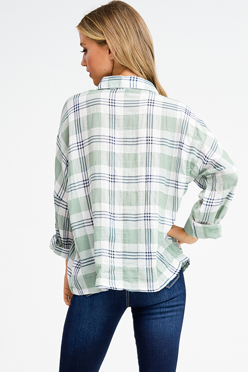 Cute cheap Sage green cotton plaid embroidered button up long dolman sleeve boho top
