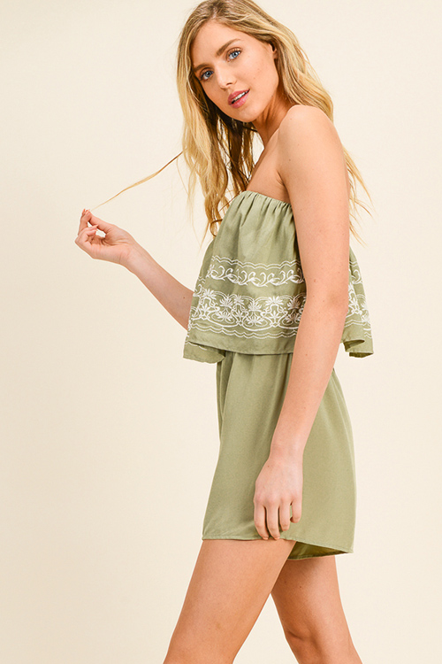 Cute cheap Sage green embroidered strapless tiered boho romper playsuit jumpsuit