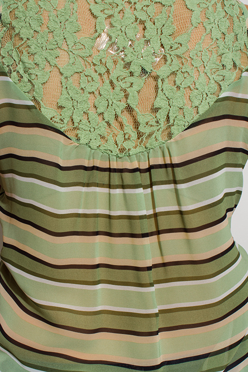 Cute cheap sage green multicolor striped semi sheer chiffon lace contrast button up blouse tank top