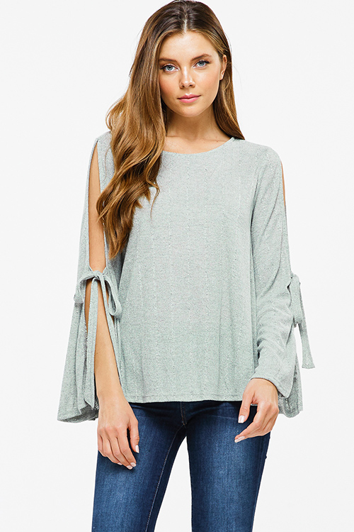 Cute cheap Sage green ribbed knit slit tie long bell sleeve boho top