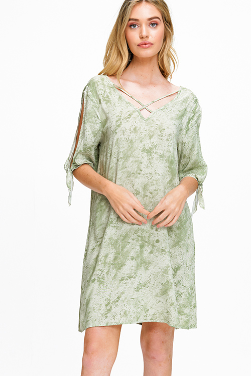 Cute cheap Sage green tie dye v neck caged slit tie short sleeve open back boho shift mini dress