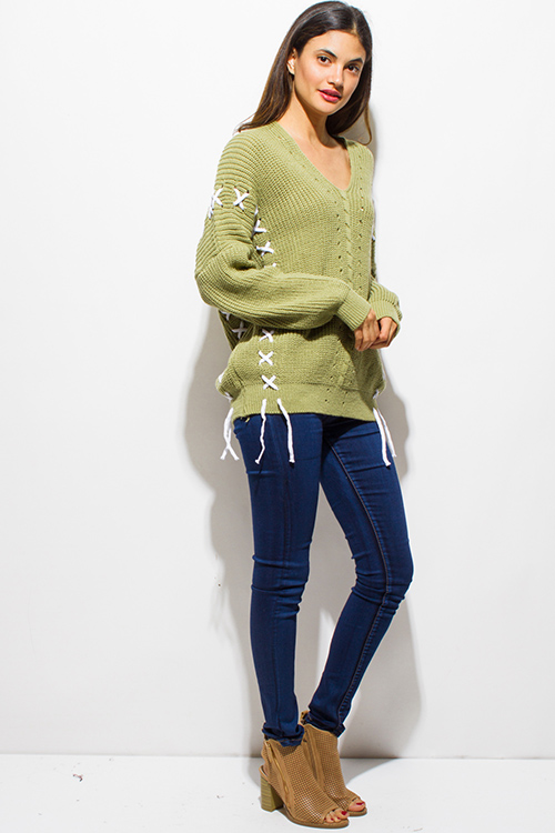 Cute cheap sage green v neck long sleeve laceup crochet oversized sweater knit tunic top