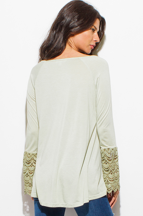 Cute cheap sage mint green cotton blend long crochet lace bell sleeve boho top