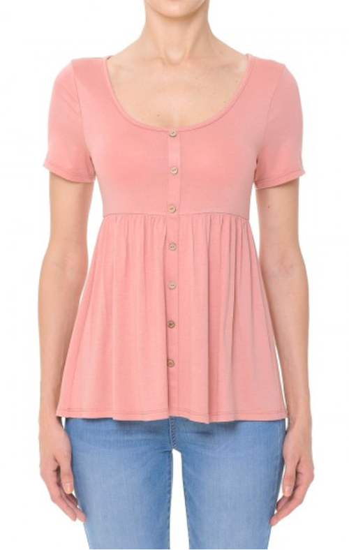 Cute cheap scoop neck, short sleeve babydoll top