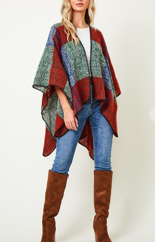 Cute cheap shawl wrap sweater with color block