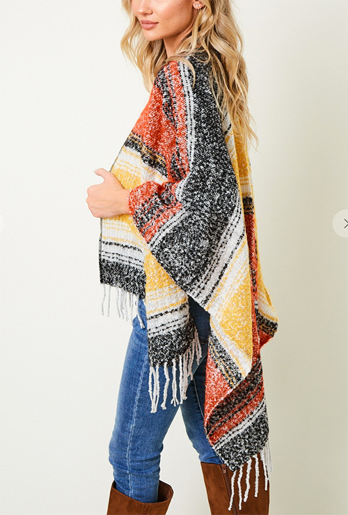 Cute cheap Shawl Wrap Sweater with Wide Stripe.