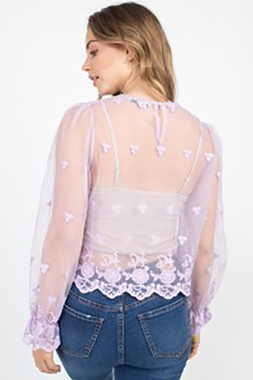 Cute cheap sheer mesh woven top