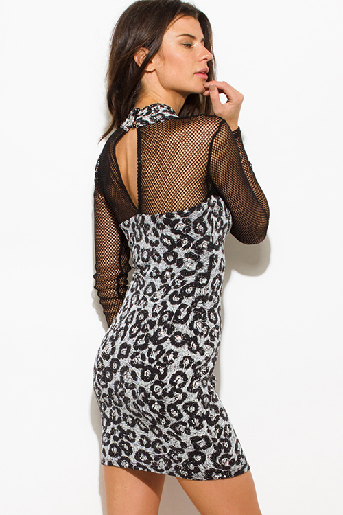 Cute cheap silver black cheetah animal print shimmery metallic long sleeve fishnet mesh contrast cut out wrap front halter bodycon fitted club mini dress
