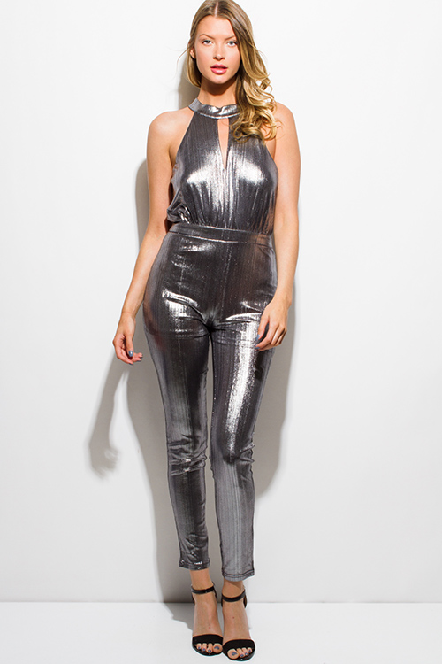 Cute cheap silver metallic halter keyhole racer back sleeveless party club bodycon fitted skinny jumpsuit
