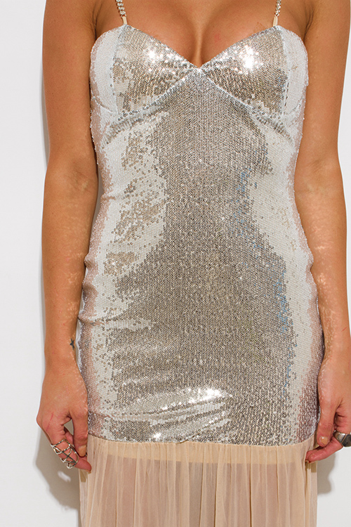 Cute cheap silver sequined bustier backless bejeweled formal evening cocktail party mesh maxi dress