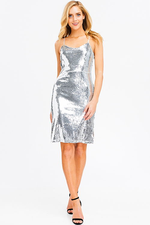 Cute cheap Silver sequined sleeveless cut out tie back side slit cocktail party mini dress